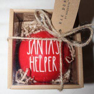 Rae Dunn SANTA'S HELPER Christmas Red Ornament